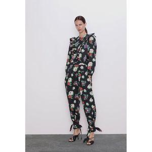 Zara High Waist Floral Pants NWT Size Large